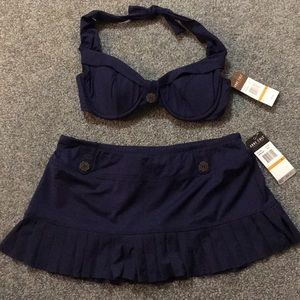 Brand New Anne Cole Navy Two Piece Swimsuit!
